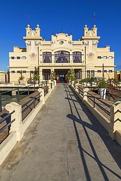 The Antico Stabilimento Balneare building (Charleston) at Mondello borough, Palermo, Sicily, Italy, Europe