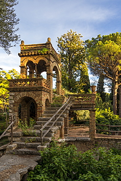 One of the so called Victorian Follies inside the public garden, Parco Duca di Cesaro, Taormina, Sicily, Italy, Europe
