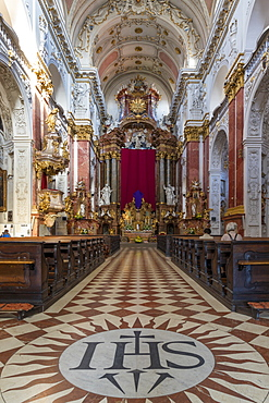 Interior of the church of St. Ignatius in the New Town district, Prague, Bohemia, Czech Republic, Europe