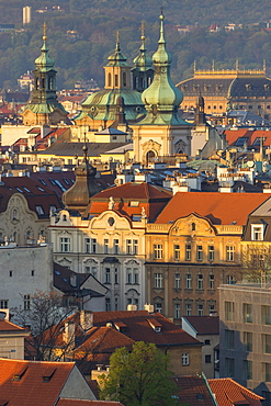 View from a lookout at Letna Park over the old town at first sunlight, UNESCO World Heritage Site, Prague, Bohemia, Czech Republic, Europe