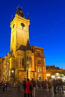 The old town hall at dusk, UNESCO World Heritage Site, Prague, Bohemia, Czech Republic, Europe