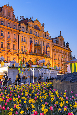 Historical buildings seen from the Easter market at the old town market square at dusk, Prague, Bohemia, Czech Republic, Europe