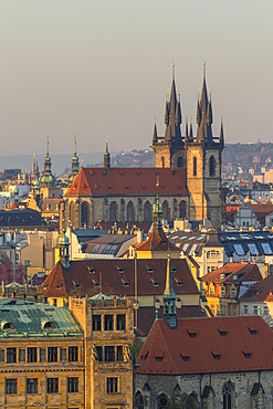 View from a lookout at Letna Park over the old town at first sunlight, Prague, Bohemia, Czech Republic, Europe