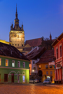 Clock Tower (Turnul cu Ceas) at dusk, Sighisoara, UNESCO World Heritage Site, Mures County, Transylvania Region, Romania, Europe