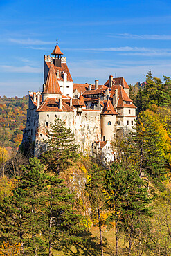 The famous Bran Castle seen from a lookout during autumn, Bran, Romania, Europe