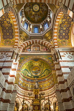 Interior of the Notre Dame de la Garde church, Marseille, Bouches du Rhone, Provence, France, Europe