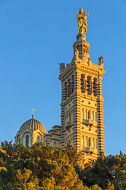 Notre Dame de la Garde church at last sunlight, Marseille, Bouches du Rhone, Provence, France, Europe