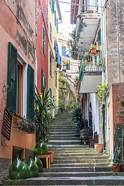 Colourful buildings and steps in Monterosso, Cinque Terre, UNESCO World Heritage Site, Liguria, Italy, Europe