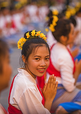 Opening ceremony for Loy Krathong and Yee Peng Festival at Three Kings Monument, Chiang Mai, Thailand, Southeast Asia, Asia
