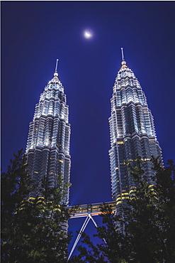 Petronas Towers and the moon, Kuala Lumpur, Malaysia, Southeast Asia, Asia