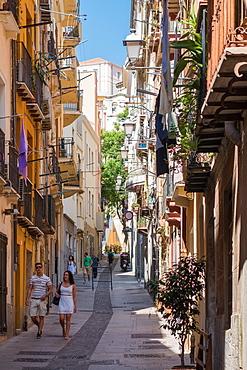 People walking on street in Cagliari, Sardinia, Italy, Europe