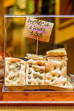 Ligurian focaccia, Portovenere, Liguria, Italy, Europe