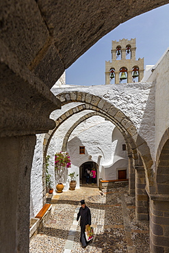 The Inner Courtyard, Monastery of St. John the Theologian, UNESCO World Heritage Site, Patmos, Dodecanese, Greek Islands, Greece, Europe