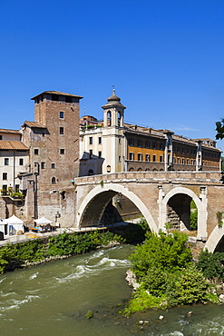 Fabricio bridge (Ponte Fabricio), Rome, Lazio, Italy, Europe