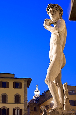 Piazza della Signoria, statue of David by Michelangelo, Florence, UNESCO World Heritage Site, Tuscany, Italy, Europe