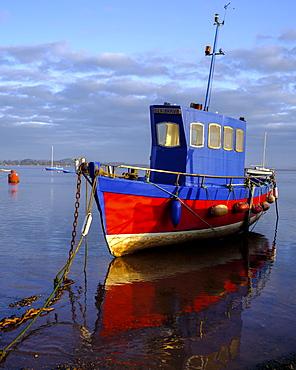 Boat moored on the shoreline of the calm Exe Estuary, Exmouth, Devon, England, United Kingdom, Europe