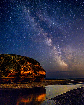 Milky Way to the right of Otter Head and River Otter at Budleigh Salterton, Devon, England, United Kingdom, Europe