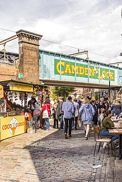 A view of Camden Market, and Camden Lock bridge in Camden, London, England, United Kingdom, Europe