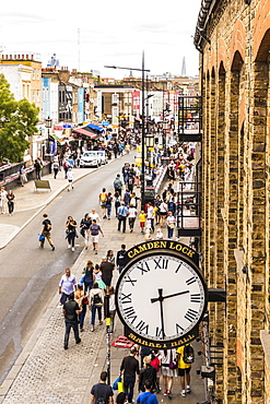 The old style clock at Camden Lock Market in Camden, London, England, United Kingdom, Europe