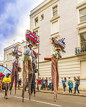 Some of the colourfully dressed performers at the Notting Hill Carnival, London, England, United Kingdom, Europe