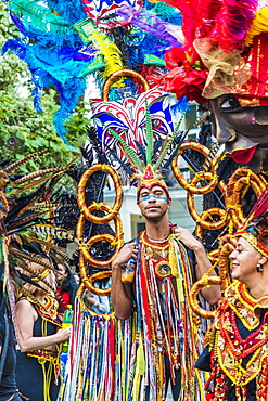 A colourfully dressed participant in the Notting Hill Carnival, London, England, United Kingdom, Europe