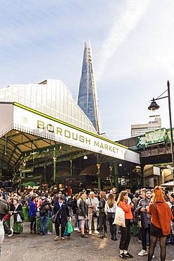 The Shard seen from Borough Market, Southwark, London, England, United Kingdom, Europe
