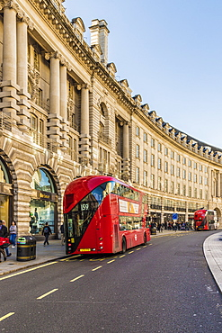 A red London bus on Regent Street, London, England, United Kingdom, Europe
