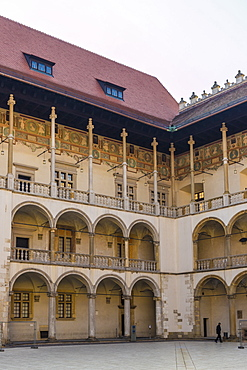 The 16th century Renaissance courtyard, Wawel Royal Castle, UNESCO World Heritage Site, in the medieval old town, in Krakow, Poland, Europe