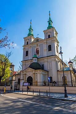 The historic Collegiate Church of St. Florian in Krakow, Poland, Europe.