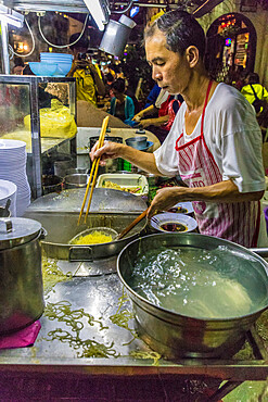 Chulia Street night food market in George Town, a UNESCO World Heritage site, Penang Island, Malaysia, Southeast Asia, Asia.