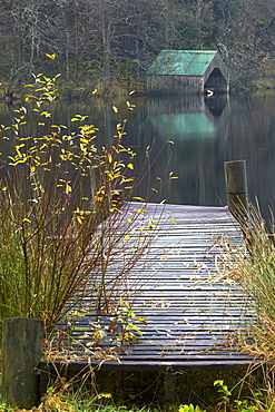 Boathouse and jetty at Milton Basin near Aberfoyle, Loch Ard, The Trossachs, Stirlingshire, Scotland, United Kingdom, Europe
