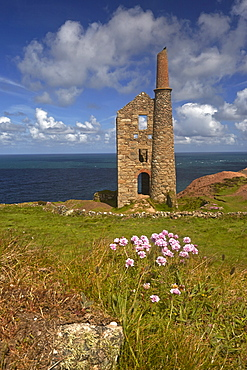 The restored Wheal Owles tin mine on the cliff tops above Botallack, Cornwall, England, United Kingdom, Europe