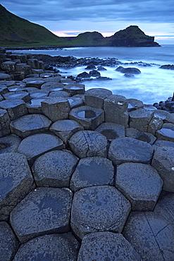 Dusk over the Giant's Causeway, UNESCO World Hritage Site, County Antrim, Northern Ireland, United Kingdom, Europe