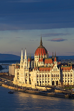 The Parliament building with dramatic light, UNESCO World Heritage Site, Budapest, Hungary, Europe