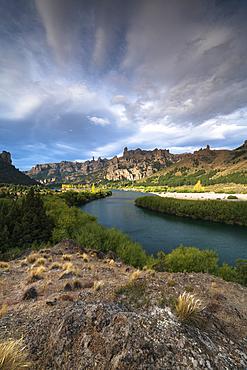 Dramatic skies and river, Barolochie, San Carlos de Bariloche, Patagonia, Argentina, South America