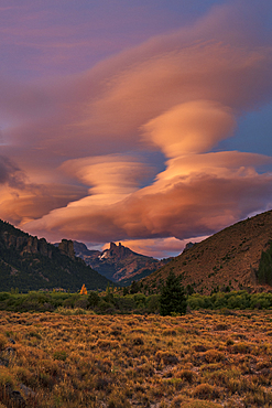 Lenticular cloud formation above The Chilean Saddle, Barilochie, Patagonia, Argentina, South America