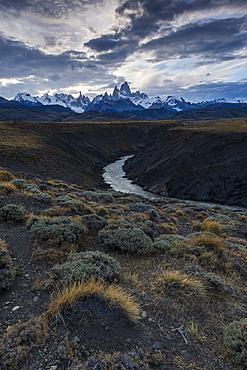 Mount Fitz Roy with Las Vueltas river, a typical Patagonia landscape, Los Glaciares National Park, UNESCO World Heritage Site, El Chalten, Patagonia, Argentina, South America