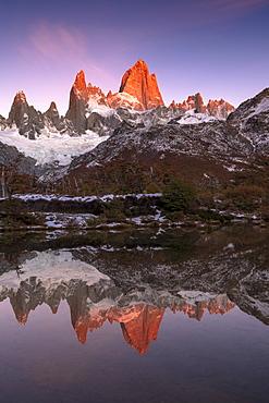 Mountain range of Cerro Torre and Fitz Roy at sunrise reflected, Los Glaciares National Park, UNESCO World Heritage Site, El Chalten, Santa Cruz Province, Patagonia, Argentina, South America