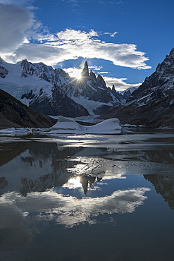 Sunset at Cerro Torres, Laguna Torre, Los Glaciares National Park, UNESCO World Heritage Site, Santa Cruz Province, Argentina, South America