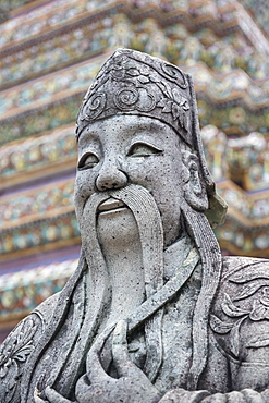 Detail of statue at Wat Arun (Temple of Dawn), Bangkok, Thailand, Southeast Asia, Asia
