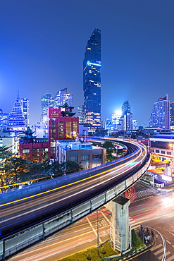 Mahanakhon building and BTS skytrain at Silom Road, Bangkok business district, Bangkok Thailand, Southeast Asia, Asia