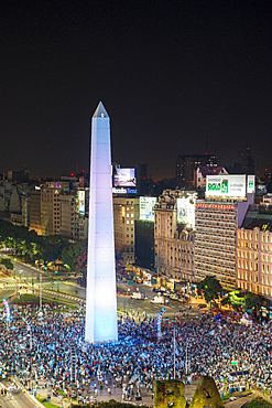 Thousands of football fans celebrating on 9 de Julio Avenue, Buenos Aires, Argentina, South America