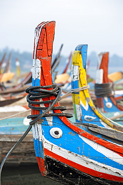 Tourist boats on Lake Taungthaman, Amarapura, Myanmar (Burma), Asia