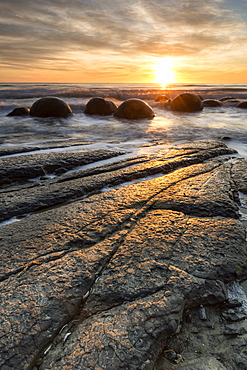 The Moeraki Boulders at Moeraki Beach, Otago, South Island, New Zealand, Pacific