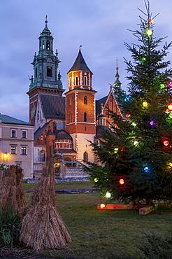 Wawel Castle with Christmas tree, UNESCO World Heritage Site, Krakow, Poland, Europe