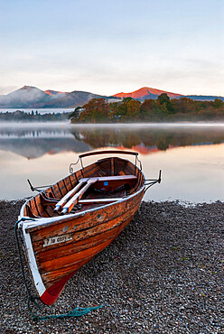 A rowing boats moored at Derwentwater, Lake District National Park, UNESCO World Heritage Site, Cumbria, England, United Kingdom, Europe