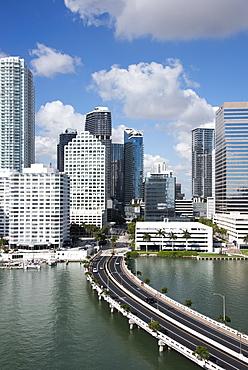 Bridge leading to Brickell Key and Downtown Miami skyline, Florida, United States of America, North America