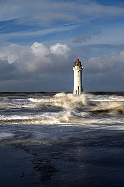 New Brighton lighthouse during stormy weather, The Wirral, Cheshire, England, United Kingdom, Europe