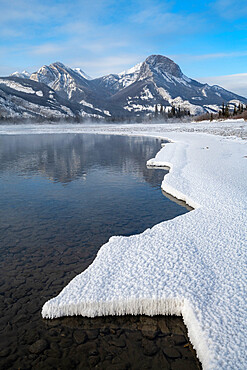 Bow River in winter with snow formations, Jasper, Canadian Rocky Mountains, Alberta, Canada, North America