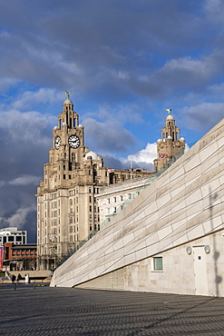 The iconic Liver Building at the Pier Head, UNESCO World Heritage Site, Liverpool, Merseyside, England, United Kingdom, Europe